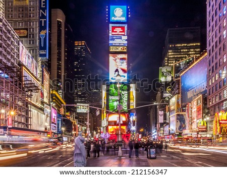 NEW YORK, USA - April 21: Panorama of New York city in the USA showcasing the famous Times Square with its electronic outdoors and neons with lots of tourists and locals passing by on April 21, 2014. - stock photo