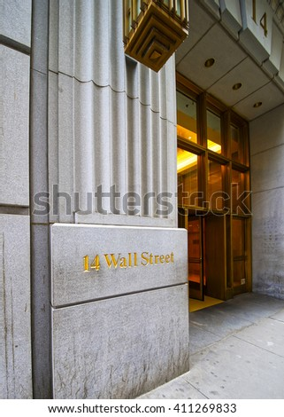 New York, USA - April 24, 2015: Street name in Wall Street in Lower Manhattan, New York City, USA - stock photo