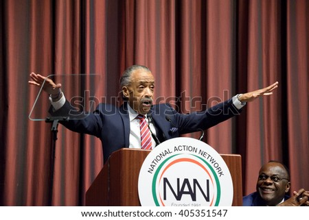 NEW YORK, USA - APRIL 13, 2016: The Reverend Al Sharpton gestures as he speaks to a packed crowd at the Sheraton Hotel during the National Action Network convention. - stock photo