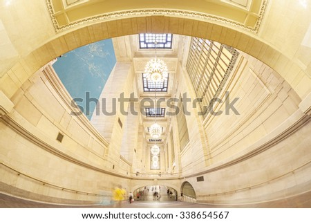 NEW YORK, USA - AUGUST 15, 2015: Fisheye lens photo of Grand Central Terminal interior, first station to largely eliminate staircases by use of ramps to more efficiently accommodate pedestrian flows. - stock photo