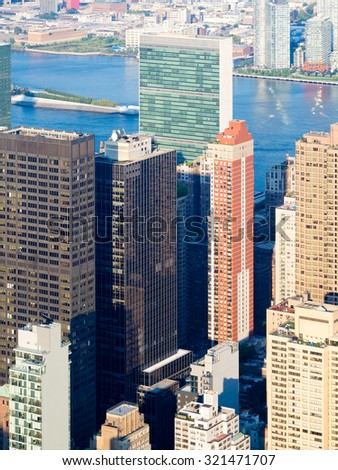 NEW YORK,USA - AUGUST 15,2015 : New York City skyscrapers including the United Nations headquarters - stock photo