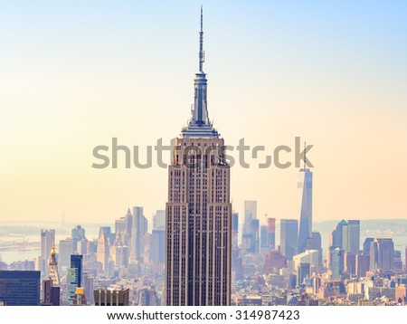 NEW YORK,USA- AUGUST 15,2015 : Sunset over the Empire State Building and New York City - stock photo