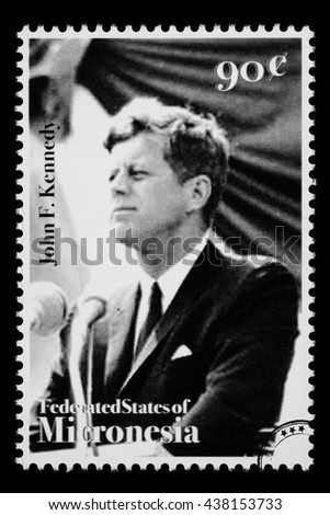 NEW YORK, USA - CIRCA 2010: A postage stamp printed in FSM showing John F. Kennedy, circa 1990 - stock photo