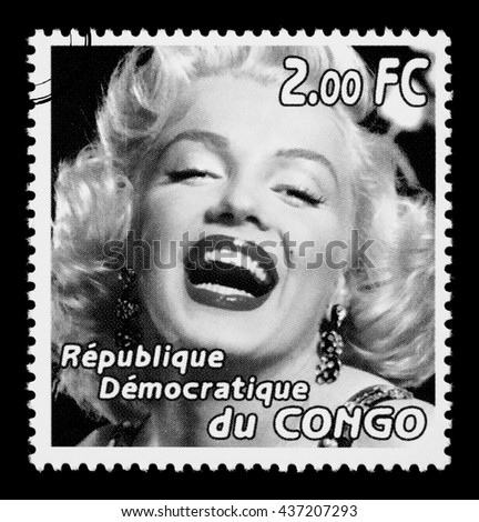 NEW YORK USA - CIRCA 2010: A postage stamp printed in the Republic of Congo showing actress Marilyn Monroe laughing, circa 2005 - stock photo