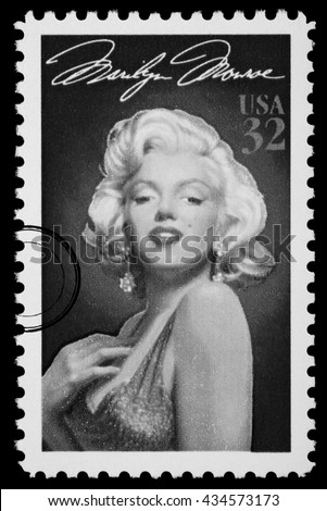 NEW YORK, USA - CIRCA 2010: A postage stamp printed in the USA showing Marilyn Monroe, circa 2003 - stock photo
