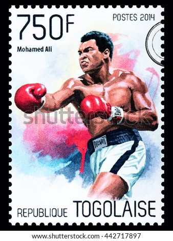 NEW YORK, USA - CIRCA 2016: A postage stamp printed in Togo showing Muhammad Ali, circa 2014 - stock photo