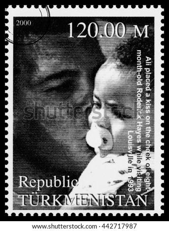 NEW YORK, USA - CIRCA 2016: A postage stamp printed in Turkmenistan showing Muhammad Ali, circa 2000 - stock photo