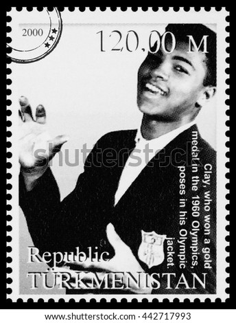 NEW YORK, USA - CIRCA 2016: A postage stamp printed in Turkmenistan showing Muhammad Ali, circa 2000 - stock photo