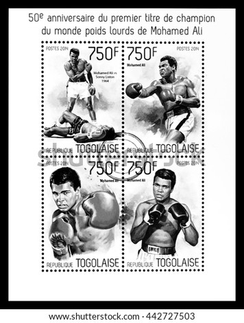 NEW YORK, USA - CIRCA 2016: A postage stamp sheet printed in Togo showing Muhammad Ali, circa 2014 - stock photo