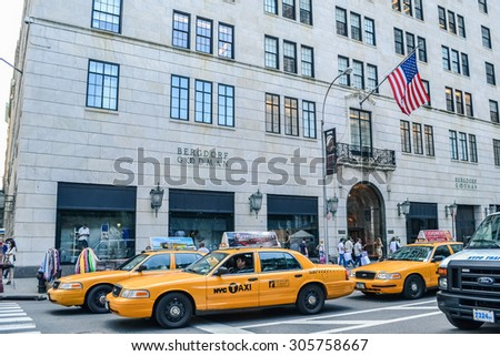 NEW YORK, USA - CIRCA 2011: yellow cabs on the street of Manhattan, New York, USA. - stock photo
