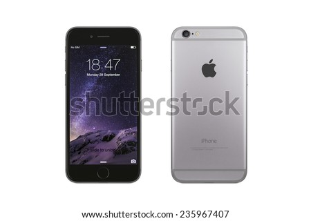 New York, USA - December 07, 2014: Front and back view of a space grey color iPhone 6 showing the home screen with iOS8. Isolated on white. - stock photo