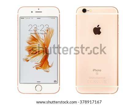 New York, USA - February 16, 2016: Front and back view of Rose Gold colored iPhone 6s Plus isolated on white. Apple released the iPhone 6s plus with 5.5 inches on September 25, 2015. - stock photo