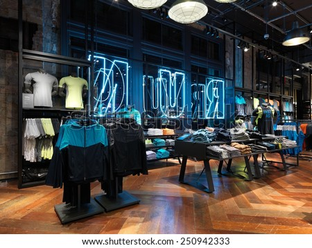 New york. USA-January. 22 2015;Nike running concept store in NYC.Nike is one of famous sports fashion brands worldwide and it is one of the world's largest suppliers of athletic shoes and apparel. - stock photo