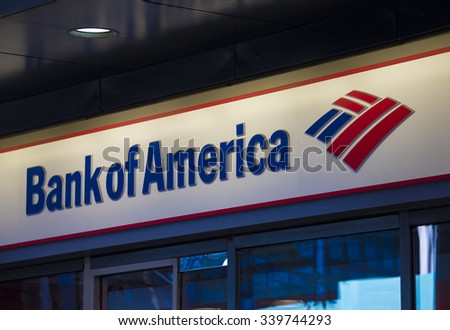 NEW YORK,USA-JULY 3,2015:Bank of America signage and logo pictured.Bank of America is an American multinational banking and financial services corporation headquartered in Charlotte, North Carolina.  - stock photo