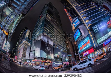 NEW YORK - USA 16 JUNE 2015 new york times square full of people at night - stock photo