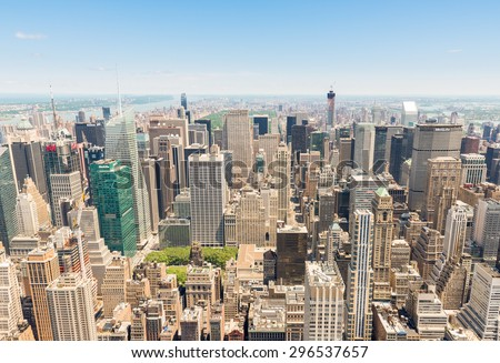New York, USA - June 15, 2014: Panoramic view of upper Manhattan from Empire State Building - stock photo