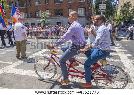 NEW YORK, USA, JUNE 26, 2016: 46th annual Pride March -The parade was the biggest one in history, with a record 32,000 marchers. - stock photo