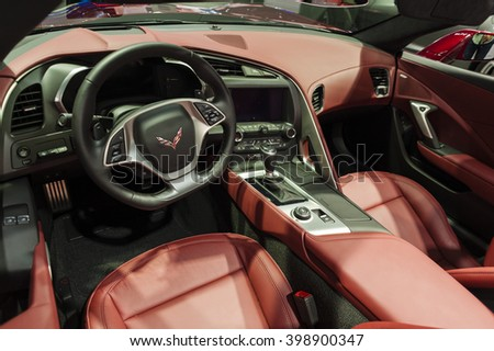 NEW YORK, USA - MARCH 23, 2016: Chevrolet Corvette Stingray convertible interior on display during the New York International Auto Show at the Jacob Javits Center. - stock photo