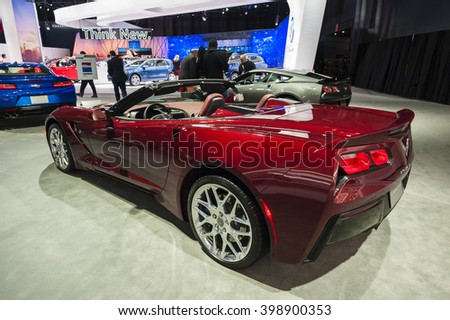 NEW YORK, USA - MARCH 23, 2016: Chevrolet Corvette Stingray convertible on display during the New York International Auto Show at the Jacob Javits Center. - stock photo