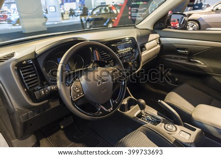 NEW YORK, USA - MARCH 24, 2016: Mitsubishi Outlander interior on display during the New York International Auto Show at the Jacob Javits Center. - stock photo