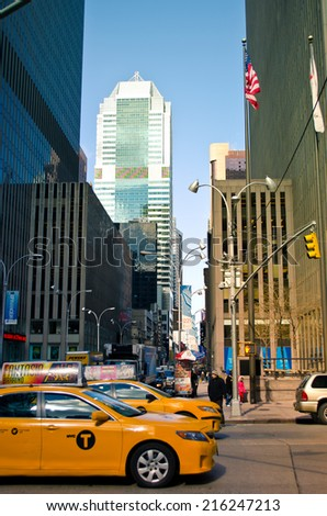 NEW YORK, USA - MARCH 26: Skyscrapers of Manhattan. Manhattan is one of places with the greatest concentration of the capital in the USA on March 26, 2014 in New York, USA - stock photo