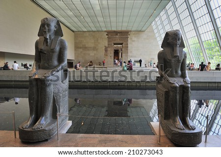 NEW YORK, USA - May. 30. 2014: Templa of Dendur, Egyptian temple replica in Metropolitan Museum of Art, New York City, USA.  - stock photo