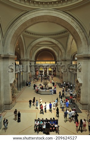 NEW YORK, USA - May. 30. 2014: The Great Hall, lobby of Metropolitan Museum of Art, New York City, USA. The Met is a NYC landmark and largest art museum in USA - stock photo