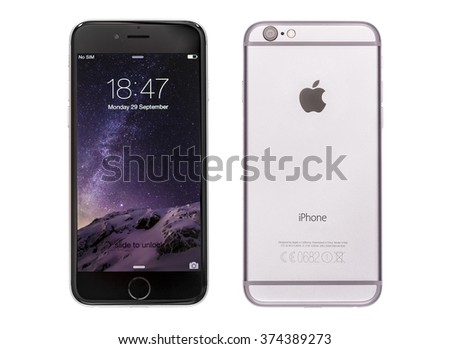 New York, USA - November 18, 2015: Front and back view of a space grey color iPhone 6 showing the home screen with iOS8. Isolated on white. - stock photo