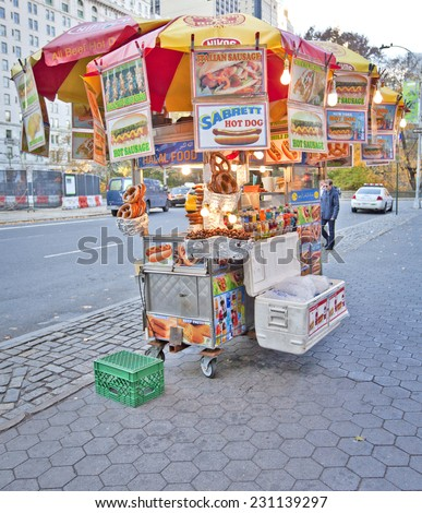NEW YORK, USA - NOVEMBER 13th, 2014: Street food vendor as seen all over Manhattan offering a variety of street foods. - stock photo
