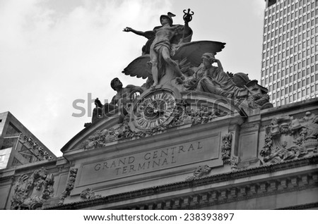 NEW YORK USA OCT 27: Grand Central Station. The iconic beaux arts statue of the Greek God Mercury that adorns the south facade of Grand Central Terminal on East 42nd Street on Oct 27, 2013 in New York - stock photo
