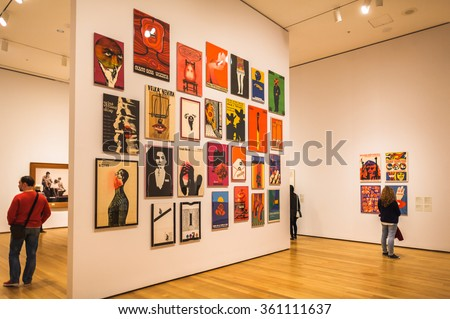 NEW YORK, USA - OCT 8, 2015: Interior of the Museum of Modern Art (MoMA), an art museum, Midtown Manhattan, New York. It was established on November 7, 1929 - stock photo