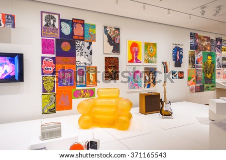 NEW YORK, USA - OCT 8, 2015: Music exhibition at  the Museum of Modern Art (MoMA), an art museum, Midtown Manhattan, New York. It was established on November 7, 1929 - stock photo