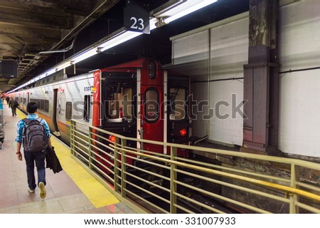 NEW YORK, USA - OCT 8, 2015: Train at the Grand Central Terminal (GCT) is a commuter railroad terminal. It's located at  42nd Street and Park Avenue in Midtown Manhattan in New York City - stock photo