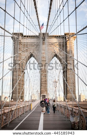 NEW YORK, USA - OCTOBER 1, 2009: Brooklyn bridge, New York, USA - stock photo