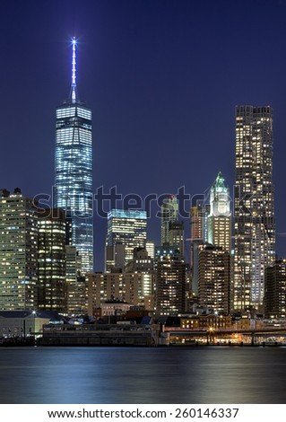 NEW YORK, USA - OCTOBER 7, 2014: Freedom Tower in Lower Manhattan. One World Trade Center is the tallest building in the Western Hemisphere and the third-tallest building in the world. - stock photo
