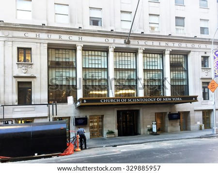 NEW YORK, USA-OCTOBER, 2015:  Headquarters building for the Church of Scientology in New York City. - stock photo