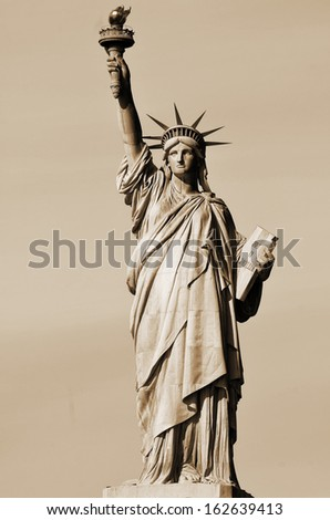 NEW YORK USA OCTOBER 27: Statue of Liberty, in New York City, NY, on October 27, 2013. The statue of Liberty was a gift from people of France to the United States in 1886. - stock photo