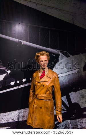 NEW YORK, USA - SEP 22, 2015: Amelia Earhart in the Madame Tussaud  wax museum, TImes Square, New York City. Marie Tussaud was born as Marie Grosholtz in 1761 - stock photo