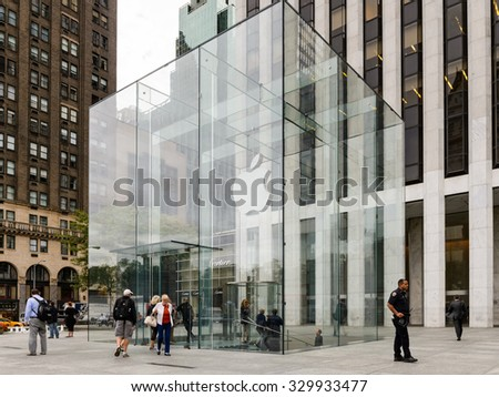 NEW YORK, USA - SEP 22, 2015: Apple brand on the Apple store on the Fifth Avenue, New York. The store sells Macintosh personal computers, software, iPod, iPad, iPhone, Apple Watch, Apple TV - stock photo