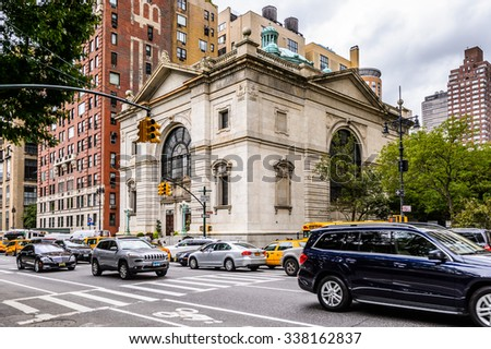NEW YORK, USA - SEP 22, 2015: Architecture of the Eighth avenue (Manhattan). 8 avenue begins in the West Village neighborhood at Abingdon Square - stock photo