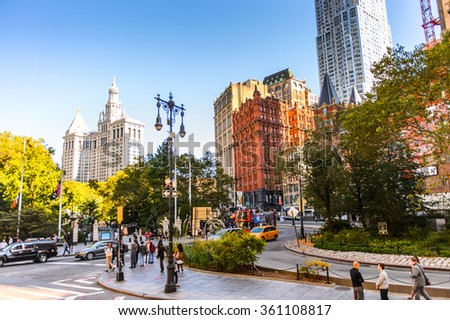 NEW YORK, USA - SEP 25, 2015: Architeture of Manhattan, New York City, USA. New York is the most populous city in the United States - stock photo