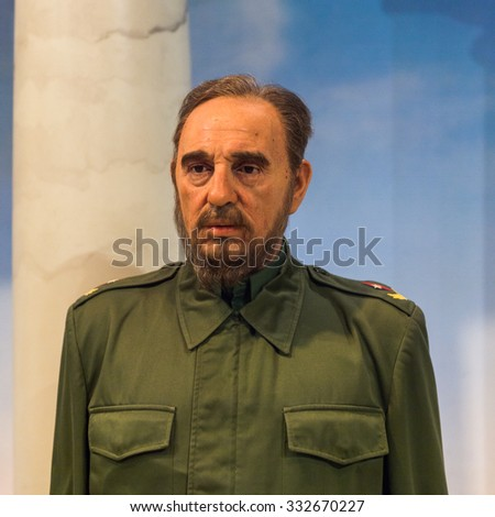 NEW YORK, USA - SEP 22, 2015: Fidel Castro in the Madame Tussaud  wax museum, TImes Square, New York City. Marie Tussaud was born as Marie Grosholtz in 1761 - stock photo