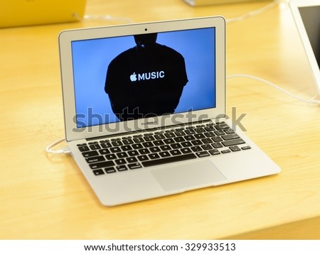 NEW YORK, USA - SEP 22, 2015: MacBook at the Apple store on the Fifth Avenue, New York. The store sells Macintosh personal computers, software, iPod, iPad, iPhone, Apple Watch, Apple TV - stock photo