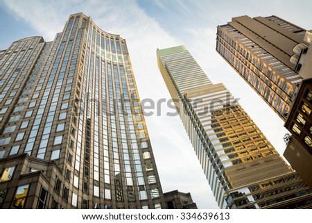 NEW YORK, USA - Sep 27, 2015: Manhattan modern architecture. Manhattan is the most densely populated of the five boroughs of New York City - stock photo