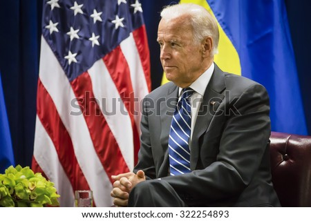 NEW YORK, USA - Sep 29, 2015: US Vice President Joe Biden during a meeting with President of Ukraine Petro Poroshenko in New York - stock photo