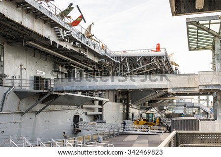 NEW YORK, USA - SEP 25, 2015: USS Intrepid (The Fighting I), one of 24 Essex-class aircraft carriers built during World War II for the United States Navy (Intrepid Museum) - stock photo