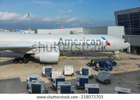 NEW YORK, USA - SEPTEMBER 10, 2014: American Airlines Boeing 777 at New York JFK airport before boarding passengers. - stock photo