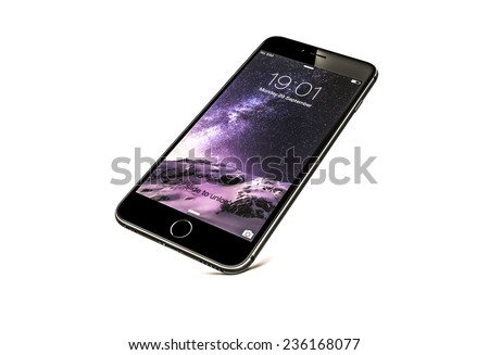 New York, USA - September 29, 2014: Front view of a space grey color iPhone 6 showing the home screen with iOS8. Isolated on white. - stock photo