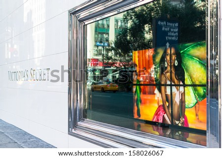 NEW YORK, USA - SEPTEMBER 28, 2013: The Victoria's Secret store on September 28, 2013 in Manhattan, New York City, USA.  Victoria's Secret, founded in 1977,is the largest American retailer of lingerie - stock photo