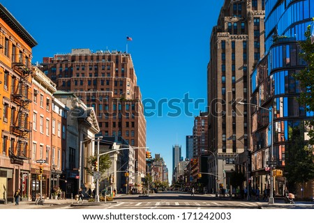 NEW YORK, USA - SEPTEMBER 22: Unidentified people on the street of New York City on September 22, 2013 - stock photo